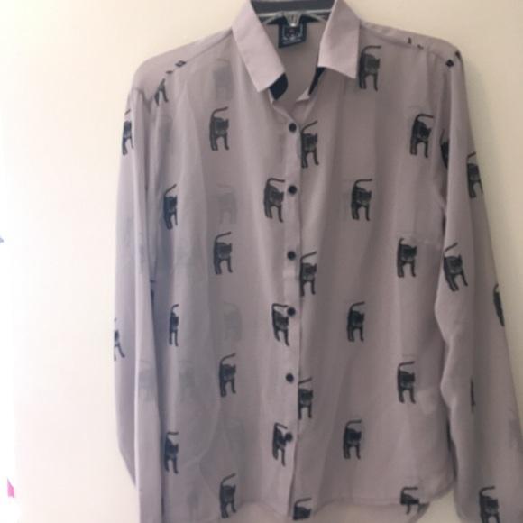 Drop Dead Tops Drop Dead Seethrough Cat Button Up Shirt Poshmark